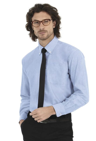 B&C Mens Oxford Long Sleeve Corportate Shirt-SMO01 - Blue Chip / 3XL - Shirts & Blouses B and C