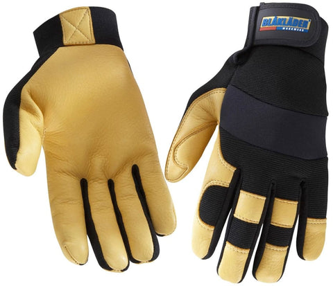Blaklader Deerskin Lined Glove Black/Yellow - Workwear Gloves Blaklader