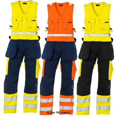 Blaklader Hi Vis Sleeveless Work Overalls with Knee Pad & Nail Pockets - 2653 - Boilersuits & Onepieces Blaklader