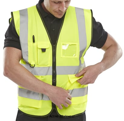 B-Seen Hi Vis Executive Zipped Safety Vest With Multi Pockets En471 - Wcengexe -  Hi Vis Tops BSeen