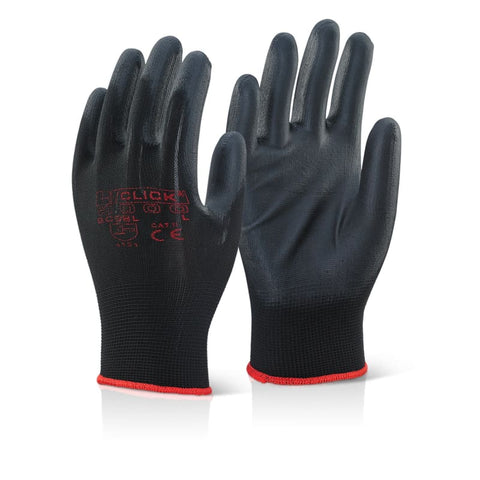 Click Pu Coated Safety Work Glove Black (Pack Of 100) - Ec9  Hand Protection Click2000
