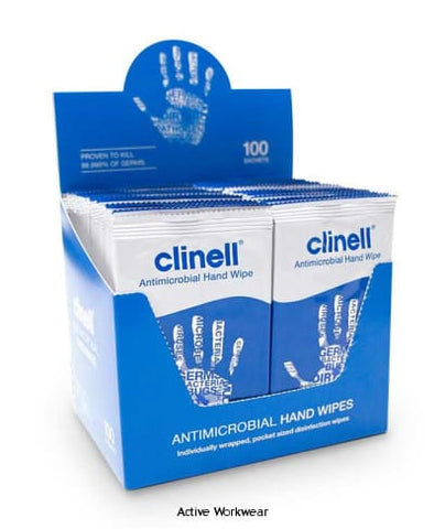 Clinell Anti Bacterial Hand Wipes (Individually Wrapped) Pack 100 wipes -CM1903 - Miscellaneous - Beeswift