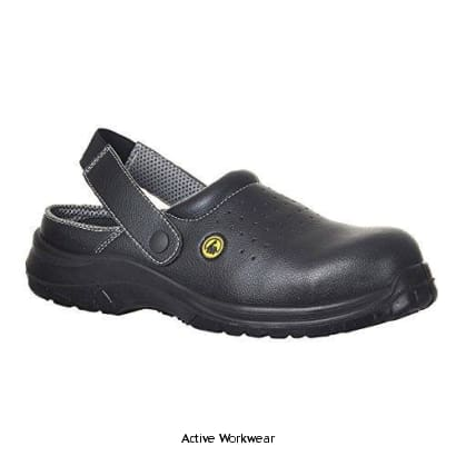 Composite lite ESD Perforated Safety Clog SB- FC03 - Black / 36 - Shoes Portwest
