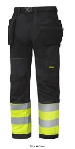 Flexi Work High Vis Work Trousers Holster Pockets Class 1 - 6931 - Hi Vis Trousers Snickers