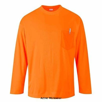 Portwest Enhanced Day-Vis Pocket Long Sleeve Tee Shirt - S579 - 4XL / Orange - Shirts Polos & T-Shirts Portwest