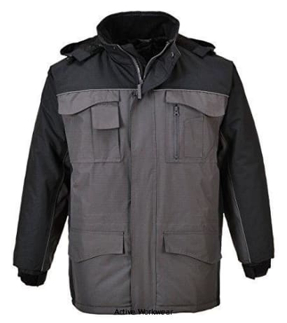 Portwest Ripstop Work Parka/jacket waterproof - S562 - Large / Black/Grey - Workwear Jackets & Fleeces Portwest