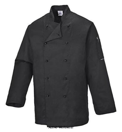 Portwest Somerset Mandarin Collar Chefs Jacket - C834 - Large / BLACK - Catering & Hospitality Portwest