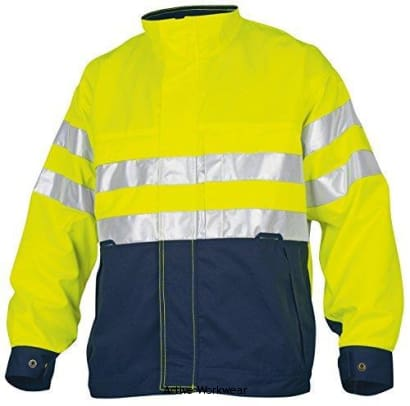 Projob Hi Vis Breathable & Water Resistant Fleece Work Jacket Class 3 - 646401 - X-SMALL (36 Chest) / Yellow/Navy - Hi Vis Jackets Projob