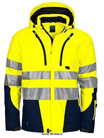 Projob Hi Vis Functional Softshell Work Jacket (Quilt Lined) Class 3/2 - 646420 - Yellow/Navy / X-SMALL (36 Chest) - Hi Vis Jackets Projob