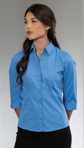 Russell Collection 3/4 SL Poplin-926F - Shirts & Blouses Russell Collection