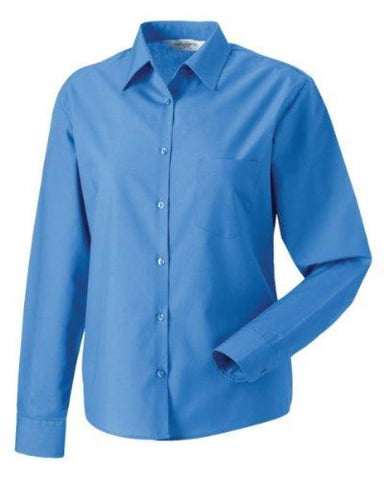 Russell Collection Lady L/Sleeve Shirt-934F - Corporate Blue / 2XL - Shirts Polos & T-Shirts Russell Collection
