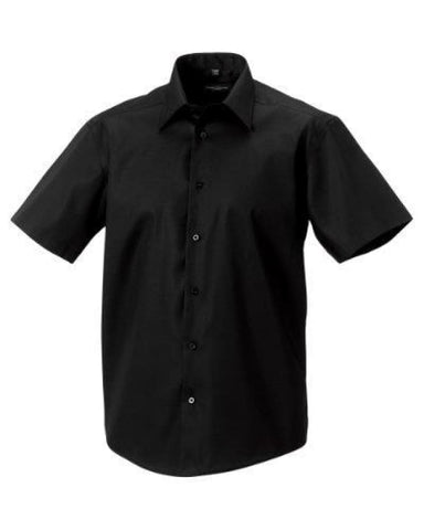 Russell Collection S/S Tailored Shirt-959M - Black / 14.5 - Shirts Polos & T-Shirts Russell Collection