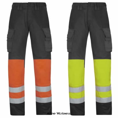 Snickers Hi Vis Trousers. Class 1 (Dirt Repelling) UK SUPPLIER-3833 - Hi Vis Trousers Snickers