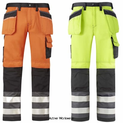 Snickers Hi Vis Trousers Kneepad & Holster Pockets. Class 2 -3233 - Hi Vis Trousers - Snickers