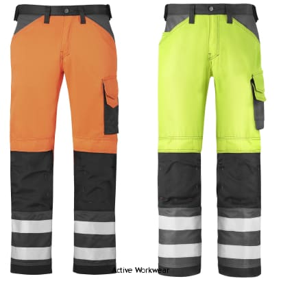 Snickers Hi Vis Work Trousers Kneepad Pockets Class 2-3333 - Hi Vis Trousers Snickers