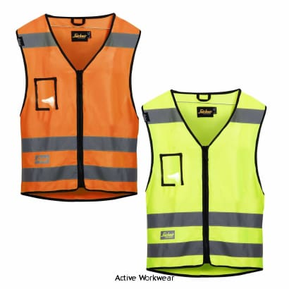 Snickers Hi Vis Zipped Vest Class 2 (Multi Pockets) -9153 - Hi Vis Tops - Snickers