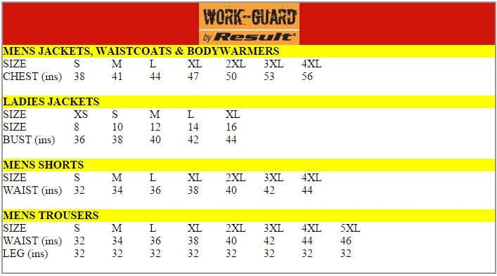 Result Workguard Size Chart
