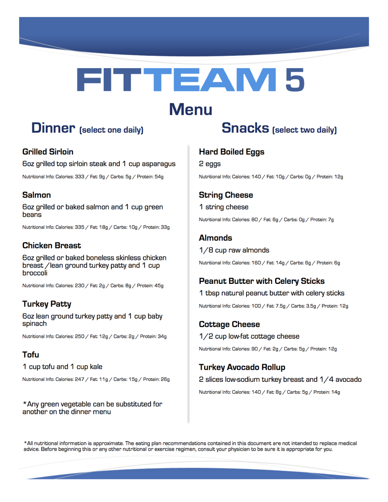 FitTeam Fit Stick 5 Day Meal Plan – FitTeam Weight Loss