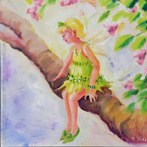 "DP309 ""The Pensive Faerie"" Original Oil on Panel Painting by Jacqueline Hill"