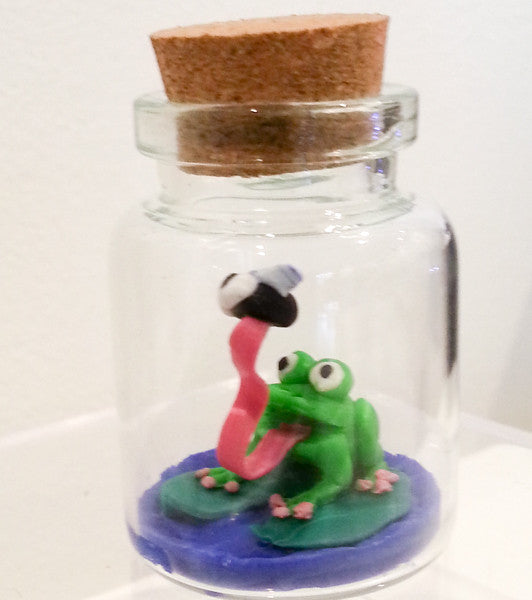 """Fly Traptt by Frog Traptt by Bottle"" Traptt Miniature Polymer Clay Original Sculpture by Jacqueline Hill"