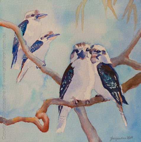 "04 ""Four Kookaburras"" Original Watercolour Painting by Jacqueline Hill [OR286]"