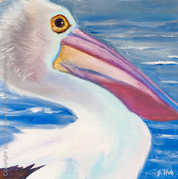 "DP091 ""Pelican"" Original Oil on Canvas Panel Painting by Jacqueline Hill"