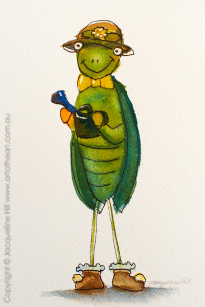 """Little Garden Helper"" Original Ink & Watercolour Painting by Jacqueline Hill [OR263]"