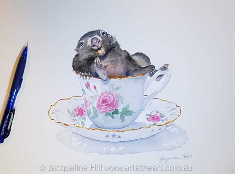 "DA173 ""Tea With Friends XII"" (Wombat Ash in hysterics) Original Watercolour Painting by Jacqueline Hill"