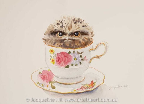 "DA170 ""Tea With Friends IX"" (Gilbert the Baby Tawny Frogmouth) Original Framed Watercolour Painting by Jacqueline Hill"