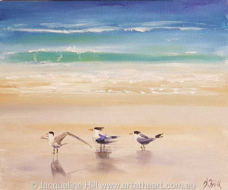 "DA200 ""Tern Against the Wind"" Original Acrylic Painting apx 12x10"" / 30x24cm by Jacqueline Hill"