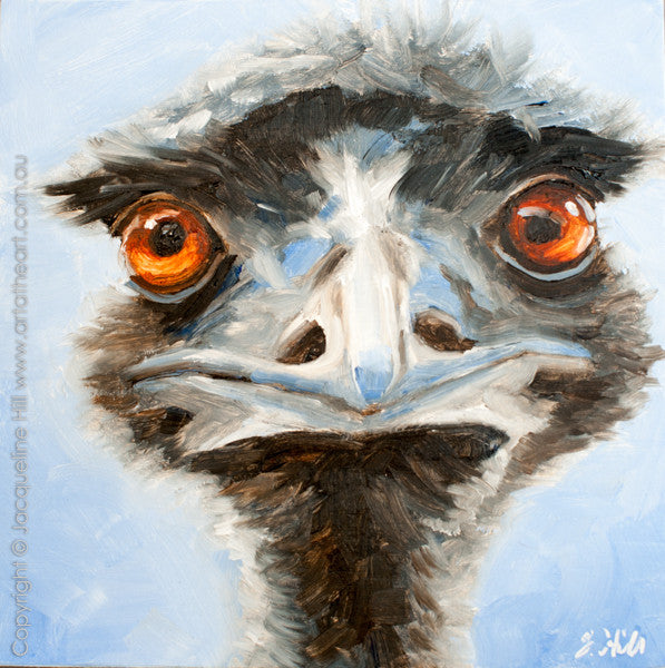 "DP208 ""Watchoolookinat II (Emu)"" Original Oil on Panel Painting by Jacqueline Hill"