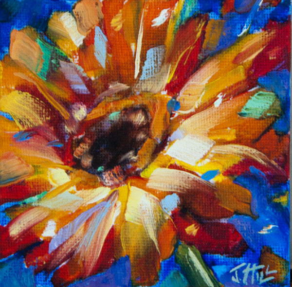 """Gerbera I"" Original oil painting by Jacqueline Hill [OR009]"