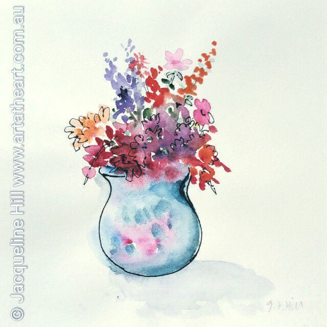 "DAE004 ""Cottage Blooms"" Original Watercolour Painting apx 6x6""(15cm sq) by Jacqueline Hill"
