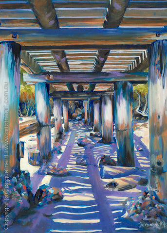 """Under the Jetty"" by Jacqueline Hill, Limited Edition Fine Art Reproduction"