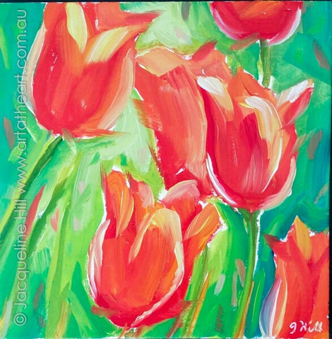 "DP333 ""Red Tulips"" Original Oil on Panel Painting by Jacqueline Hill"