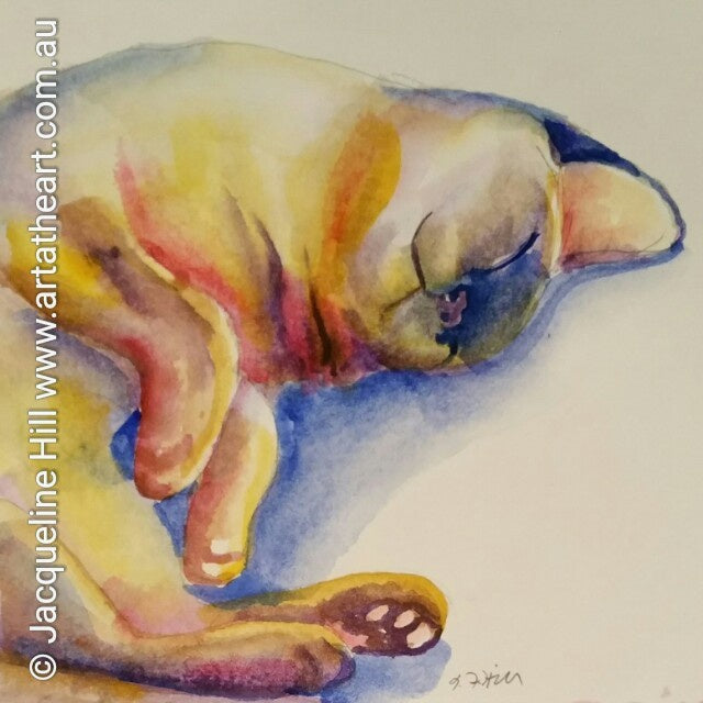 "DA003 ""Bliss Kitteh (Gaia)"" Original Watercolour Painting apx 6x6"" / 15cm sq by Jacqueline Hill"