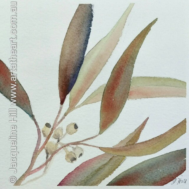 "DA036 ""Autumn Song (Gum leaves)"" Original Watercolour Painting apx 6x6"" / 15cm sq by Jacqueline Hill"