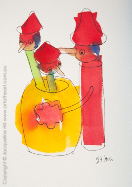 """Pinocchio Pencils III"" Original Ink & Watercolour Painting by Jacqueline Hill [OR300]"