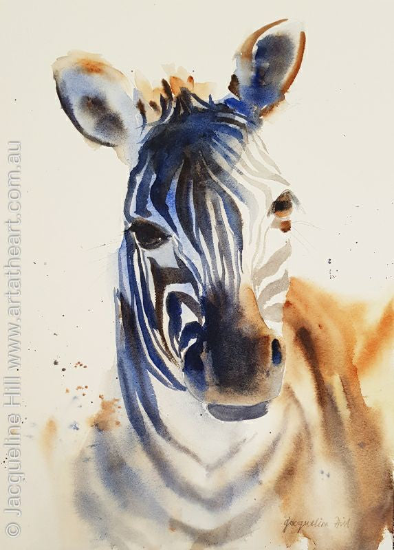 "DA133 ""Zebra"" Original Watercolour Painting apx 26x36cm by Jacqueline Hill"