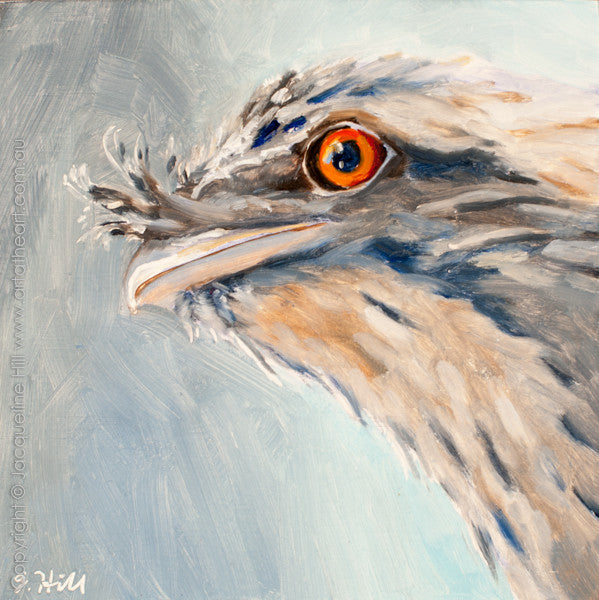 "DP248 ""On the Lookout (Tawny Frogmouth Owl III)"" Original Oil on Panel Painting by Jacqueline Hill"