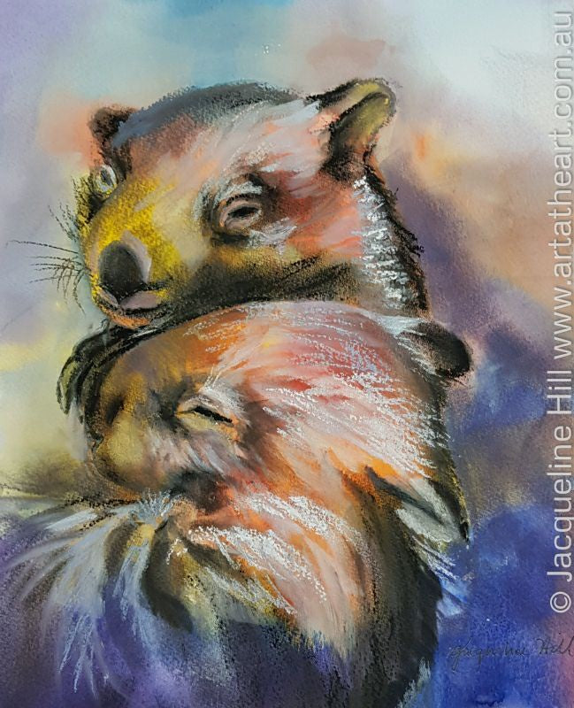 "DA111 ""Cuddle Time"" Original Mixed Media Painting by Jacqueline Hill"
