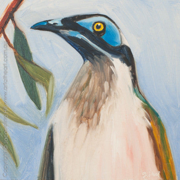 "DP244 ""Blue-faced Honeyeater"" Original Oil on Panel Painting by Jacqueline Hill"