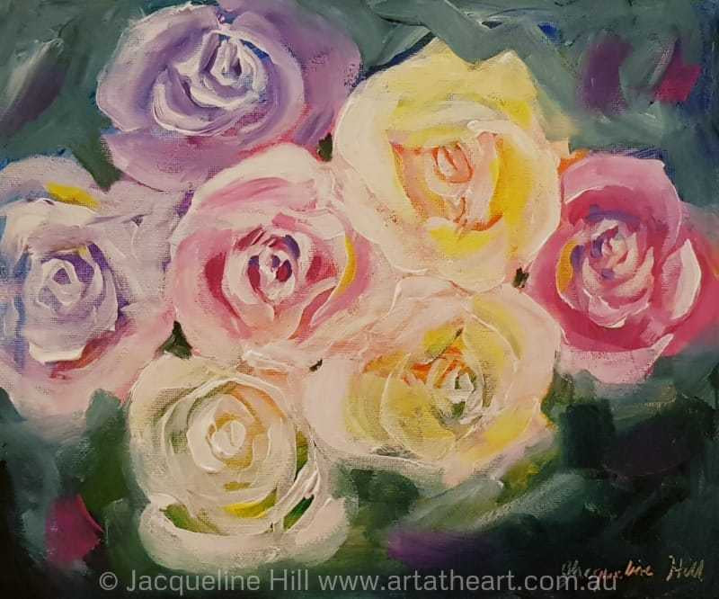 "DA195 ""Rose Dance I"" (pale roses) Original Acrylic Painting apx 12x10"" / 30x24cm by Jacqueline Hill"