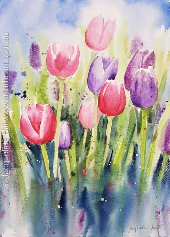 "DA139 ""Tulip Heaven"" Original Watercolour Painting apx 26x36cm by Jacqueline Hill"