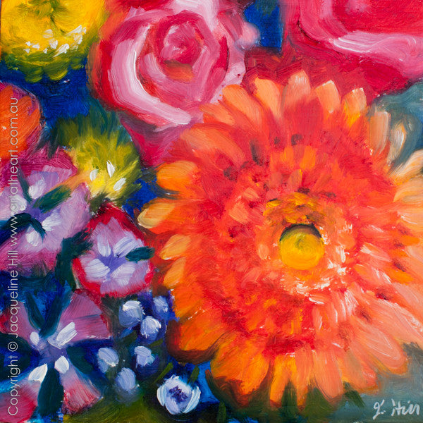 "DP209 ""Gerbera and Friends"" Original Oil on Panel Painting by Jacqueline Hill"