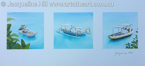 "DA091 ""Bali Boats"" Original Watercolour Painting by Jacqueline Hill"