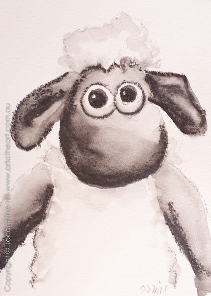 """Shaun The Sheep"" Original Water Soluble Graphite Painting by Jacqueline Hill [OR313]"