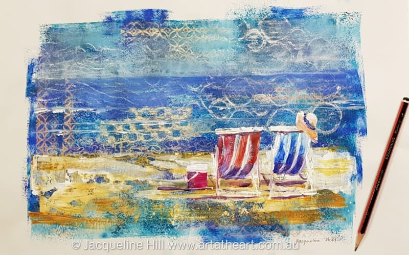 "DA215 ""Beckoning"" (Beach Side) Original Mixed Media Painting (acrylic and pastel) apx 42x29cm by Jacqueline Hill"