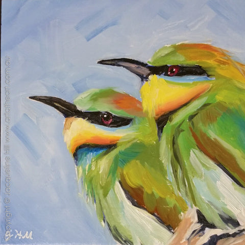 "DP323 ""Bees Beware"" (Rainbow Bee-eater Pair) Original Oil on Panel Painting by Jacqueline Hill"