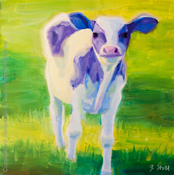 "DP053 ""Little Calf"" Original Oil on Panel Painting by Jacqueline Hill"